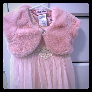 NWOT 12 mo girls Pink Dress w/ Fur jacket